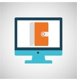 technology monitor library book icon isolated vector image