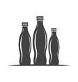 Three bottles with screw cap Black icon logo vector image