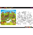 horse characters coloring book vector image