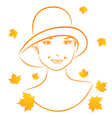 Abstract face autumn girl portrait vector image vector image