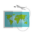 world map paper with airplane vector image
