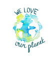 Earth day with hand drawn watercolor planet vector image vector image