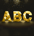 Golden Lowpoly Font from A to C vector image