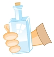 Bottle in hand of the person vector image