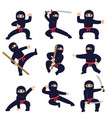 cartoon funny warriors ninja or samurai vector image