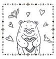 cute bear with heart vector image