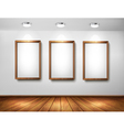 Empty wooden frames on wall with spotlights and vector image