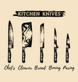 hand drawn kitchenchefs knives set vector image