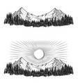 hand drawn the mountains with vector image
