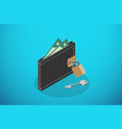 isometric closed black wallet and lock with key vector image