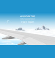 plane wing above the clouds vector image