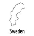 sweden map thin line simple vector image