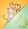 with spring and baby cat vector image