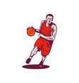Basketball Player Dribbling Ball Retro vector image vector image