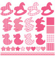 set with toys - horses rabbits hearts and stars vector image vector image