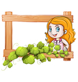 A frame with a lady and green plants vector image