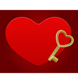 red shiny heart card with key vector image vector image
