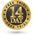 14 day free trial golden label vector image vector image