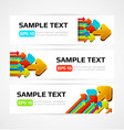 set of three banners with 3d arrows vector image vector image