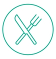 Knife and fork line icon vector image