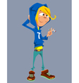 cartoon teenager standing with a cigarette vector image
