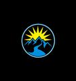 mountain sun nature abstract logo vector image