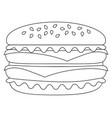 Black and white burger hamburger cheeseburger icon vector image
