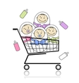 Children in basket vector image
