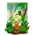 Colorful Tropical Forest Landscape Poster vector image