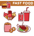 fast food collection of sweet and salty vector image