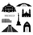 mexico city landmarks icon set famous buildings vector image