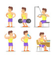 strong man cartoon body builder in gym vector image