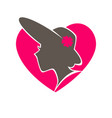 woman in hat with broad brims in heart emblem vector image