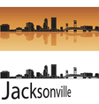 Jacksonville skyline in orange background vector image