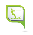 Water skiing sign symbol on map pointer vector image