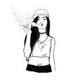 rap smoking girl vector image