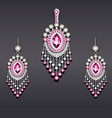 set earrings and pendant silver with gemstones vector image vector image
