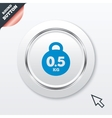 Weight sign icon 05 kilogram kg Mail weight vector image