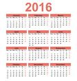 Simple calendar 2016 Week starts on Monday vector image
