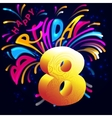 Fireworks Happy Birthday with a gold number 8 vector image