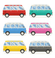 Summer Tourist Bus Colorful Icons vector image