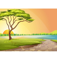 A river and a tree vector image