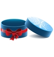 Blue open round gift box with a red bow vector image