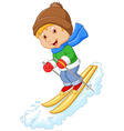 Cartoon alpine skier races extreme hill vector image
