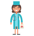 Female young medical doctor in uniform vector image