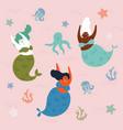 three mermaids and octopus in the waterunderwater vector image
