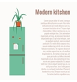 Kitchen refrigerator concept with kitchen interior vector image