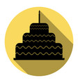 cake with candle sign  flat black icon vector image