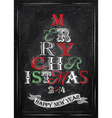 Poster Tree Christmas Happy chalk color vector image