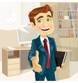 Business man in office with speech bubble gives vector image